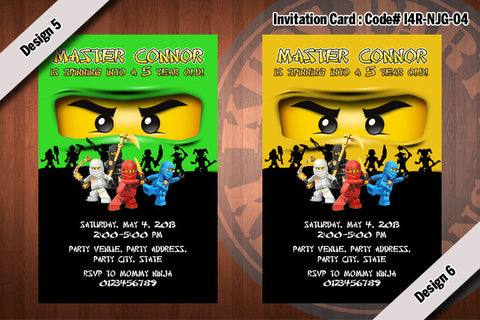 Ninjago Invitation (NJG-04) - Kai, Jay, Cole, Zane, Green, Gold