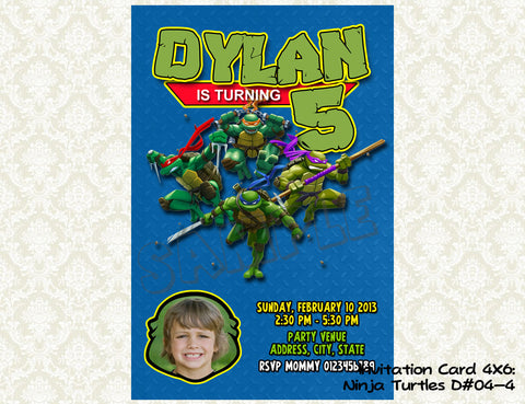 TMNT - Teenage Mutant Ninja Turtles Birthday Photo Invitations- Ninja Turtles Birthday Party - Ninja Turtles photo invite (6x4 or 7x5)