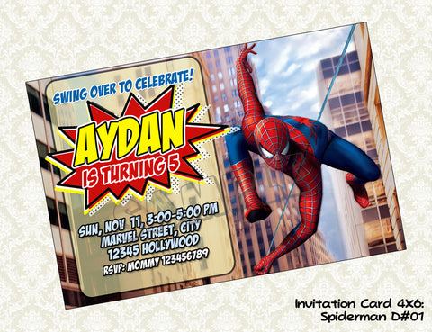 Spiderman Invitation - Spiderman Birthday Party - Spiderman printable invite (6x4)