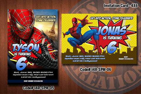 Personalized SPIDERMAN Printable Birthday Party Invitation (4x6 or 5x7) D#3