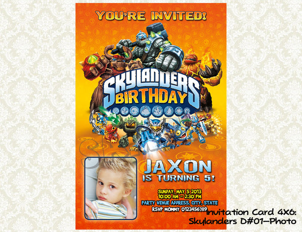 Skylanders Birthday Photo Invitations- Skylander Birthday Party printable invite (6x4)