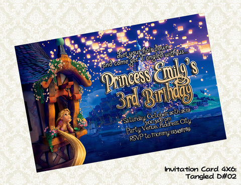 Tangled Invitation - Rapunzel - Princess - Tangled Birthday party printable (4x6) Design2