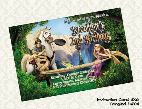 Tangled Invitation - Rapunzel - Princess - Tangled Birthday party printable (4x6) Design4