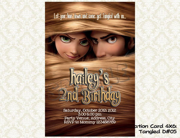 Tangled Invitation - Rapunzel - Princess - Tangled Birthday party printable (4x6) Design5