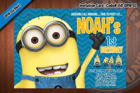 Personalized MINION Despicable Me Printable Birthday Party Invitation for Despicable Me Birthday 5x7 (Blue)