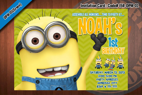 Personalized MINION Despicable Me Printable Birthday Party Invitation for Despicable Me Birthday 5x7 (Green)