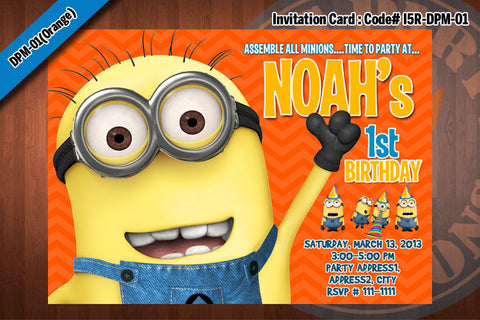 Personalized MINION Despicable Me Printable Birthday Party Invitation for Despicable Me Birthday 5x7 (Orange)