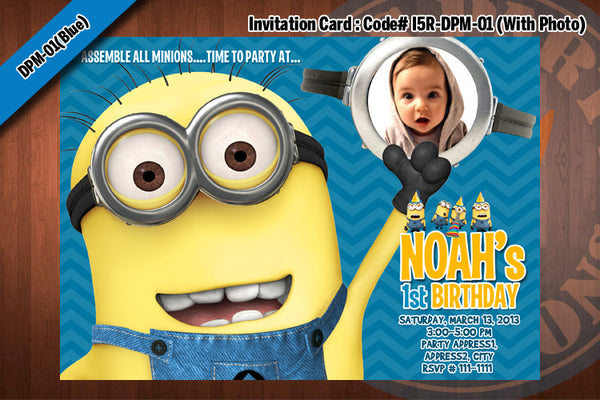MINIONS Despicable Me Printable Birthday Photo Invitation for Despicable Me Birthday 5x7 (Blue)