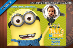 MINIONS Despicable Me Printable Birthday Photo Invitation for Despicable Me Birthday 5x7 (Red)