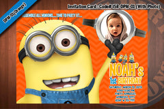 MINIONS Despicable Me Printable Birthday Photo Invitation for Despicable Me Birthday 5x7 (Purple)