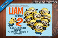 Personalized MINION Despicable Me Printable Birthday Party Invitation for Despicable Me Birthday 5x7 (Grey)