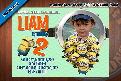 MINION Despicable Me Printable Birthday Photo Invitation for Despicable Me Birthday 5x7 (Green)