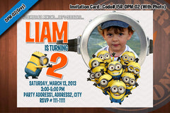 MINION Despicable Me Printable Birthday Photo Invitation for Despicable Me Birthday 5x7 (Pink)