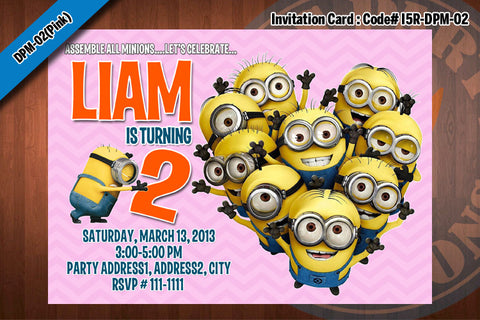 Personalized MINION Despicable Me Printable Birthday Party Invitation for Despicable Me Birthday 5x7 (Pink)