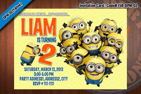 Personalized MINION Despicable Me Printable Birthday Party Invitation for Despicable Me Birthday 5x7 (Yellow)