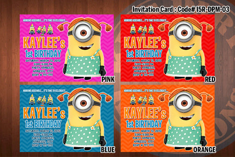 Personalized Girl MINION Despicable Me Printable Birthday Party Invitation for Despicable Me Birthday 5x7 ((CHOOSE 1 color) D#1
