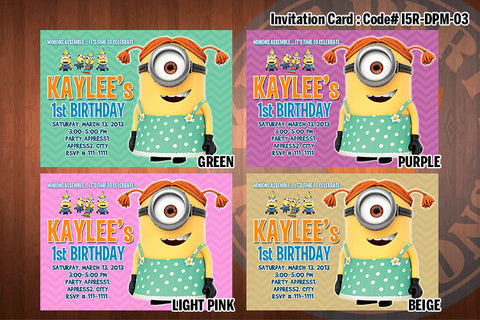 Personalized Girl MINION Despicable Me Printable Birthday Party Invitation for Despicable Me Birthday 5x7 ((CHOOSE 1 color) D#2