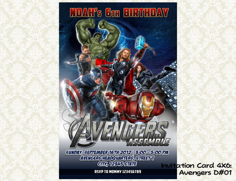 Avengers Invitation - Birthday party printable (4x6) - 01