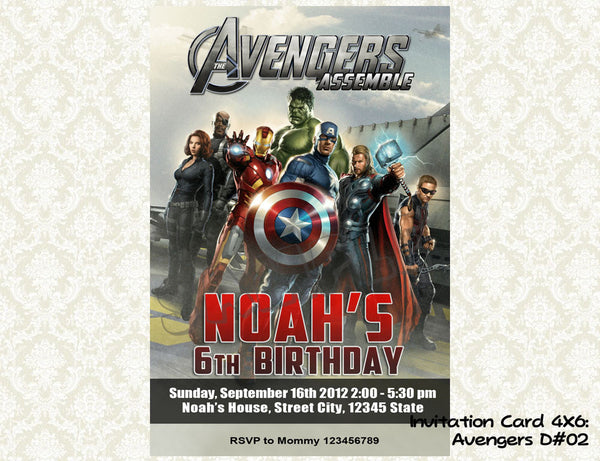 Avengers Invitation - Birthday party printable (4x6) - 02