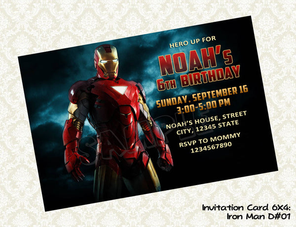 Iron Man Invitation - Birthday party printable (4x6)