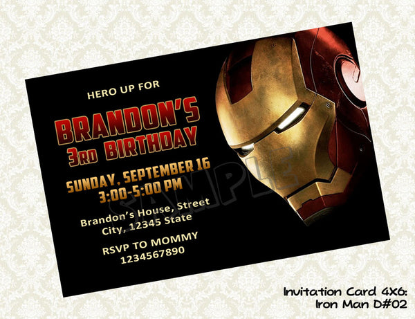 Iron Man Invitation - Iron Man Birthday party printable  - Superhero Invitation (4x6)