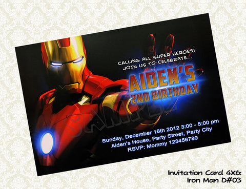 Iron Man Invitation - Iron Man Birthday party printable  - Superhero Invitation (4x6) D3