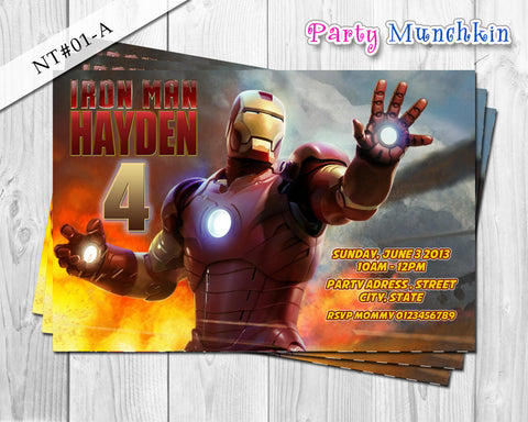 IRONMAN Invitation, Iron Man Personalized Invite for Iron Man Superhero Birthday - DIY PRINTABLE (01-A)