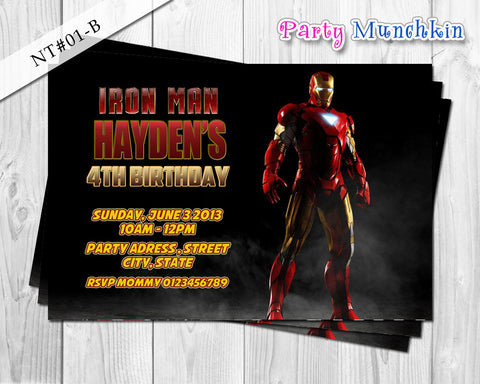 IRONMAN Invitation, Iron Man Personalized Invite for Iron Man Superhero Birthday - DIY PRINTABLE (01-B)