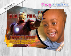 IRONMAN Photo Invitations, Iron Man Photo Invite for Iron Man Superhero Birthday - DIY PRINTABLE (02C)