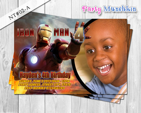 IRONMAN Photo Invitations, Iron Man Photo Invite for Iron Man Superhero Birthday - DIY PRINTABLE (02A)