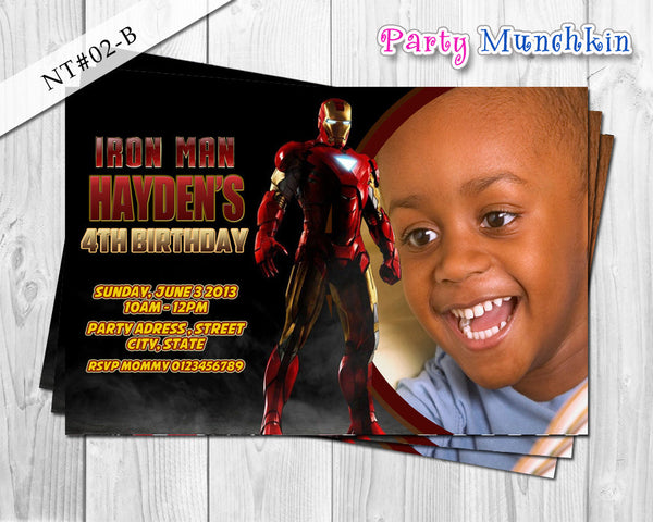IRONMAN Photo Invitations, Iron Man Photo Invite for Iron Man Superhero Birthday - DIY PRINTABLE (02B)