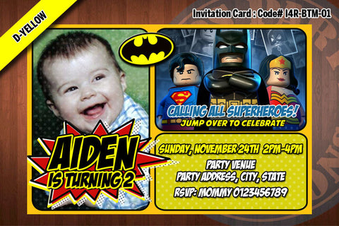 BATMAN Invitation, BATMAN invite, Superhero birthday - Printable Invitation for Batman Birthday Party (Yellow)