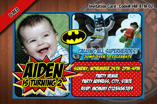 BATMAN Photo Invitation, Superhero birthday - Printable Invitation for Batman Birthday Party