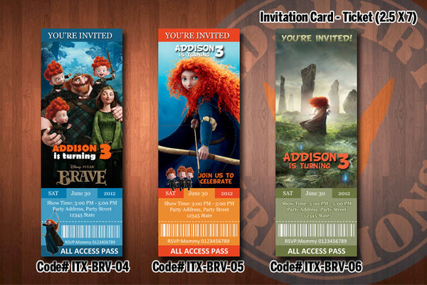 Personalized BRAVE Printable Birthday Ticket Invitation for a Brave inspired party