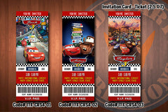 CARS ticket Invitations, McQueen invitation, Mater invitation, Cars birthday invitations (D#04-D#06)
