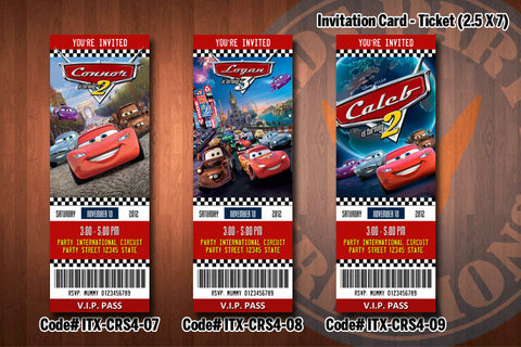 CARS ticket Invitations, McQueen invitation, Mater invitation, Cars birthday invitations (D#07-D#09)
