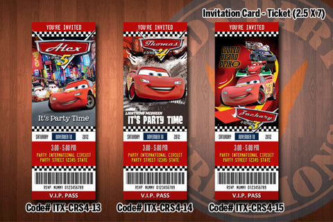 CARS ticket Invitations, McQueen invitation, Mater invitation, Cars birthday invitations (D#13-D#15)