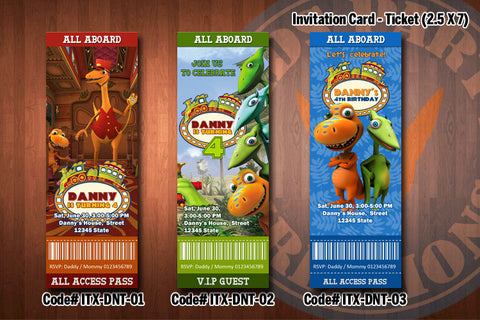 "DINOSAUR TRAIN Invitation - Printable Ticket Invitation for Dinosaur Train Birthday Party (2.5""x7"")"