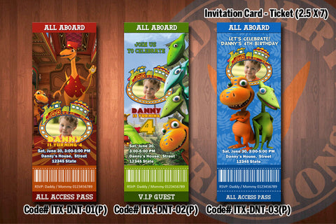 "DINOSAUR TRAIN Photo Invitation - Printable Ticket Invitation for Dinosaur Train Birthday Party (2.5""x7"")"