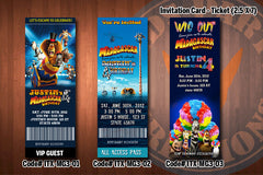 Personalized MADAGASCAR 3 Printable Birthday Ticket Invitation for a Madagascar inspired party D#2