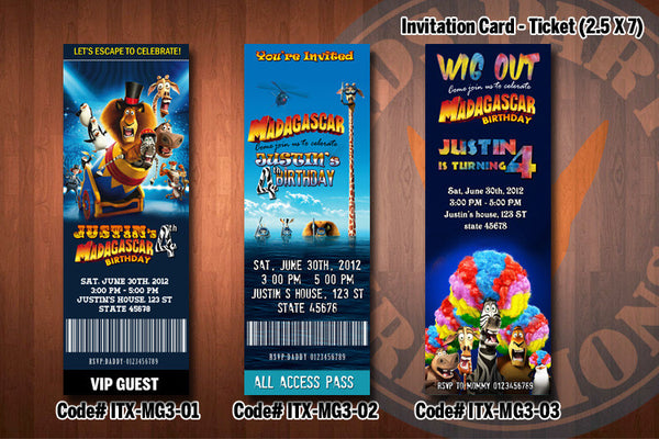 Personalized MADAGASCAR 3 Printable Birthday Ticket Invitation for a Madagascar inspired party D#1