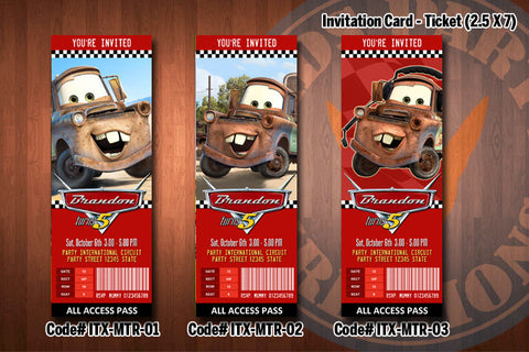 TOW MATER (Cars) Ticket Invitation - Tow Mater Birthday Party