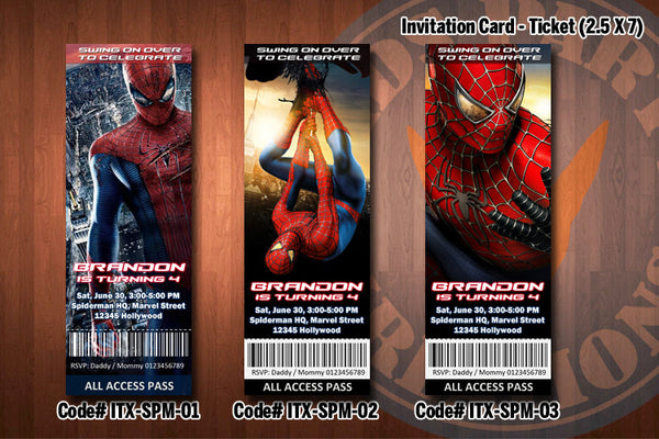 "SPIDERMAN Invitation - Printable Spiderman Birthday Ticket Invitation (2.5"" x 7"") D#1"