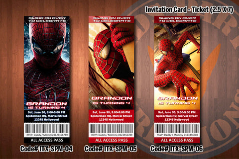 "SPIDERMAN Invitation - Printable Spiderman Birthday Ticket Invitation (2.5"" x 7"") D#2"