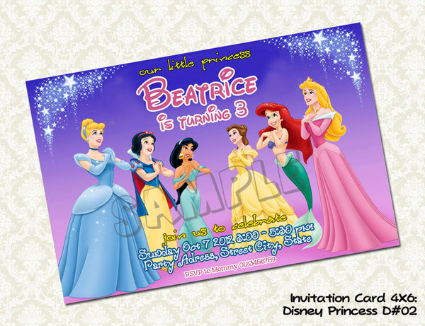 Disney Princess Invitation - Princess invite for Princess Birthday party - printable and personalized (4x6) D#2