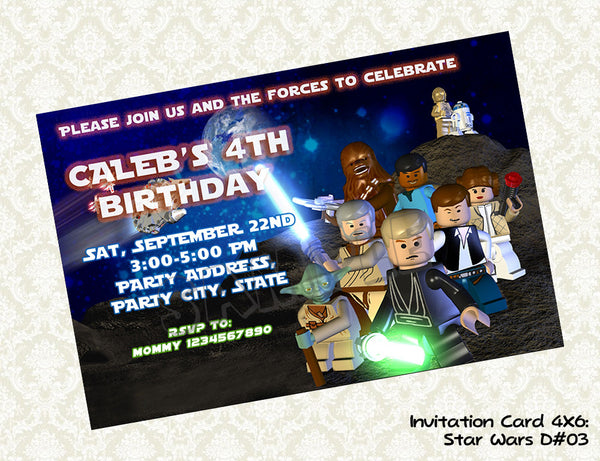 Star Wars Invitation - Birthday party printable (4x6) - Star Wars birthday party - Star Wars invite