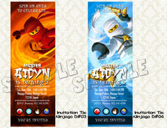 Ninjago Invitation ticket type for Ninjago birthday - DIY printable