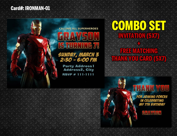 Iron Man Invitation and Thank you combo - DIGITAL for Iron man birthday (Combo 01)