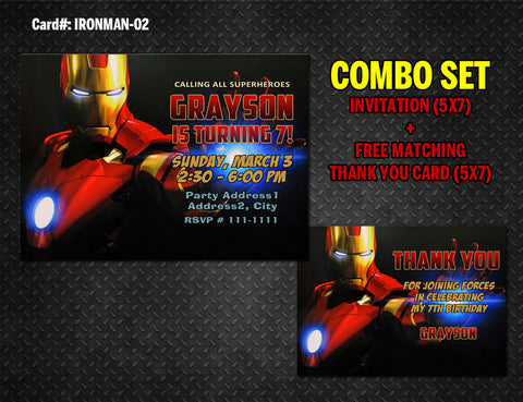 Iron Man DIGITAL invitation and thank you - printable for Iron Man birthday (Combo 02)