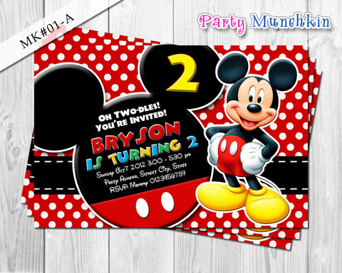 DIY Mickey birthday Invitation - Mickey party printables for mickey mouse inspired birthday theme